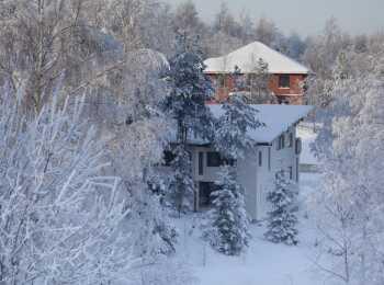 Вид на коттеджный поселок зимой